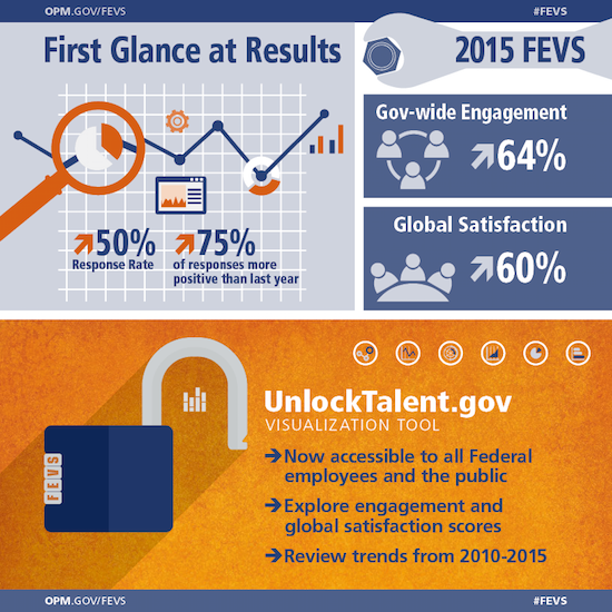 Infographic showing a summary of the 2015 FEVS results